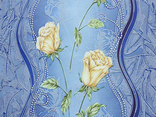 Обои на стену, акрил на бумаге, Бутон 7000-03, желтые розы, синий, 0,53*10м, ограниченное количество