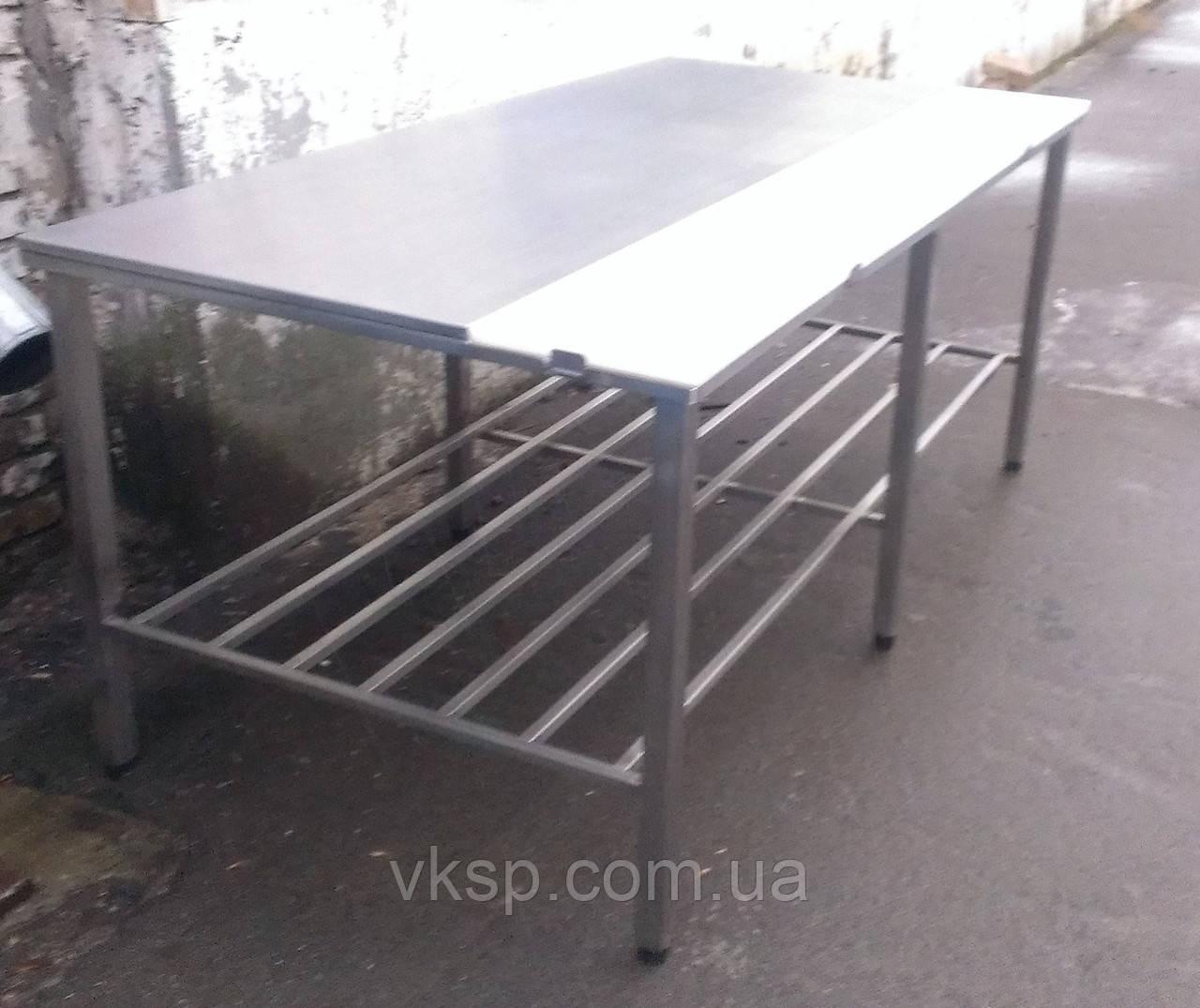 Стол для обвалки мяса усиленный (односторонний обвалочный стол без борта с полкой)