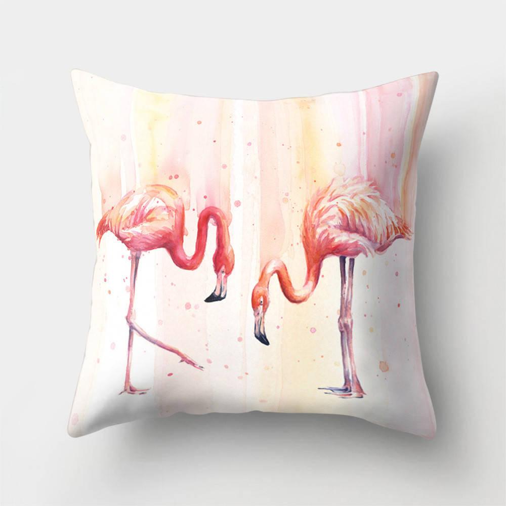 Подушка с принтом Розовые фламинго