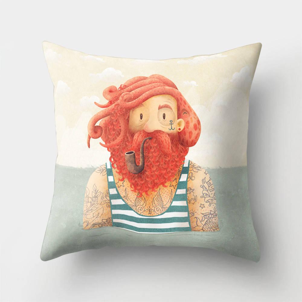 Подушка с принтом Рыжий моряк