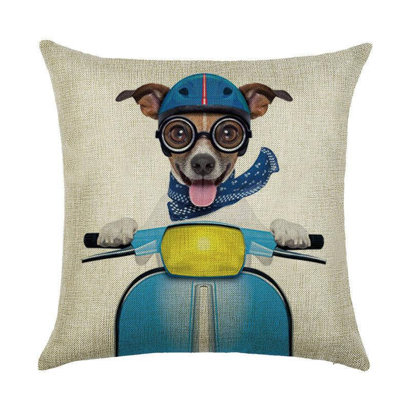 Подушка с принтом Пес на мопеде