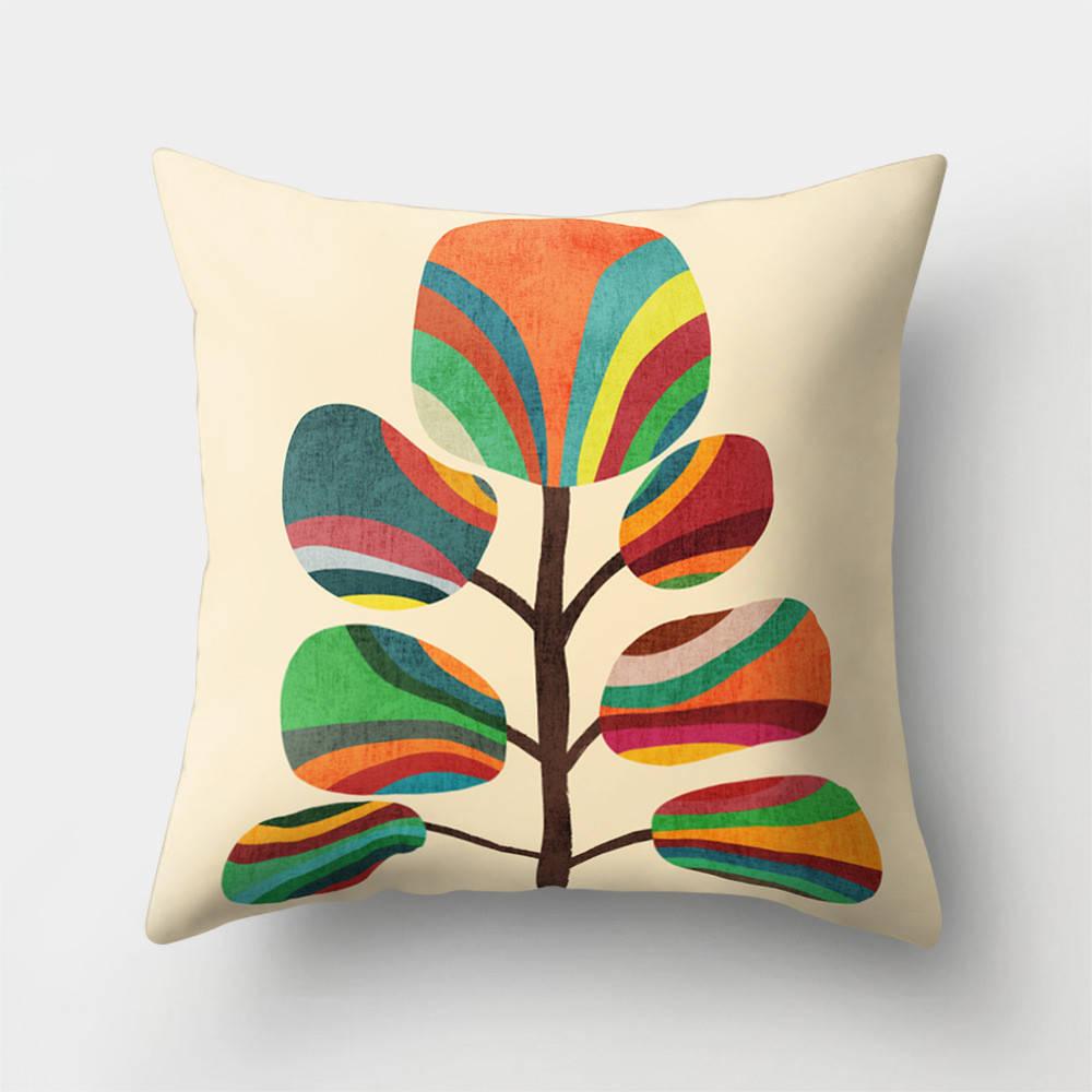 Подушка с принтом Радужное дерево