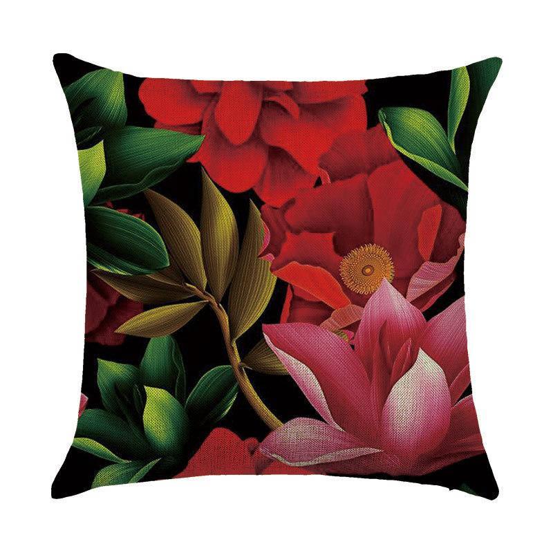 Подушка декоративная Красные цветы