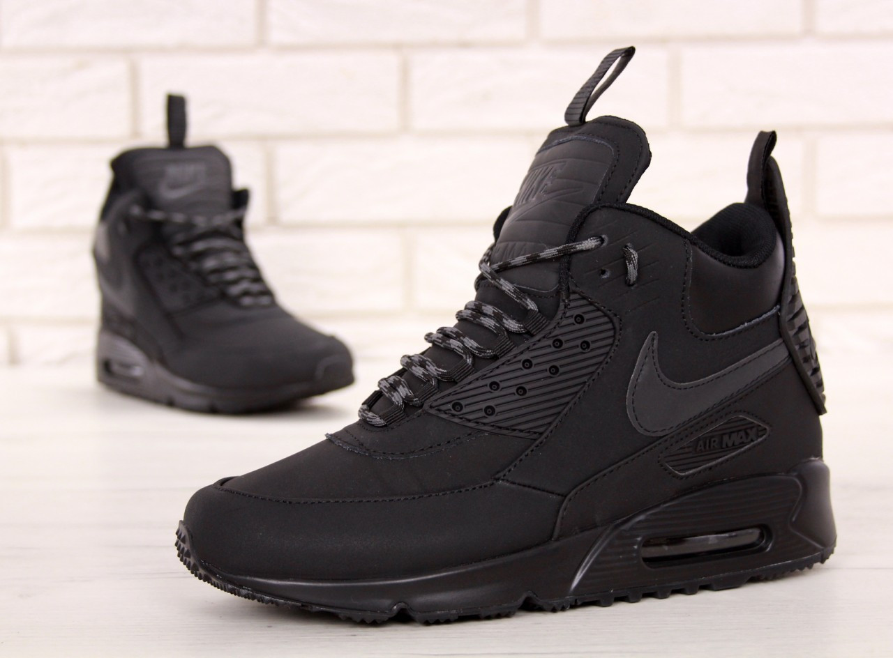Кроссовки мужские Найк Nike Air Max 90 Sneakerboot Winter Black. ТОП Реплика ААА класса.
