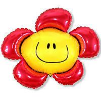 """Фольгований міні-куля """"Квітка-смайлик"""", червоний, 14""""(35см), FlexMetal"""