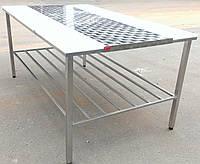 Усиленный двухсторонний обвалочный стол с полкой из нержавеющей стали, фото 1