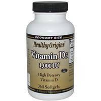 Витамин Д3, 1000 МЕ, Healthy Origins,   360 гелевых капсул