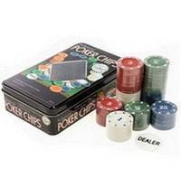 Фишки для покера 100 фишек с номиналом в металлической коробке