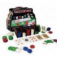 Покерный набор на 200 фишек с номиналом в металлической коробке. №200т-3