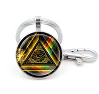 Брелок с масонской символикой на радужном фоне, фото 1