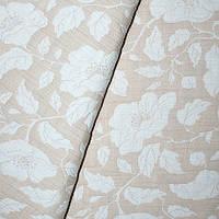 Ткань для покрывала листья и цветы бежевые