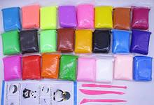 Набір повітряного, супер легкого пластиліну для ліплення зі стеками 24 кольору.