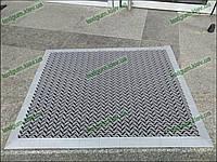 Грязезащитный резиновый ковер Волна 15 мм 60х99 см серый с кантом