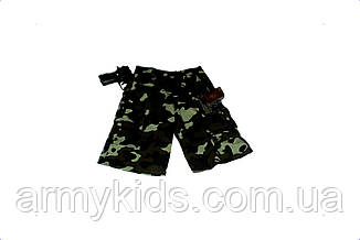 Шорты трикотажные детские для мальчиков камуфляж темный лес, фото 3