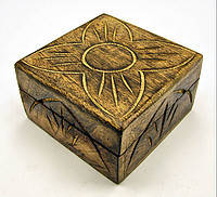 """Шкатулка из мангового дерева """"Антик"""" (10,5х10х6см),деревянные шкатулки,аксессуары для дома,оригинальные подар"""