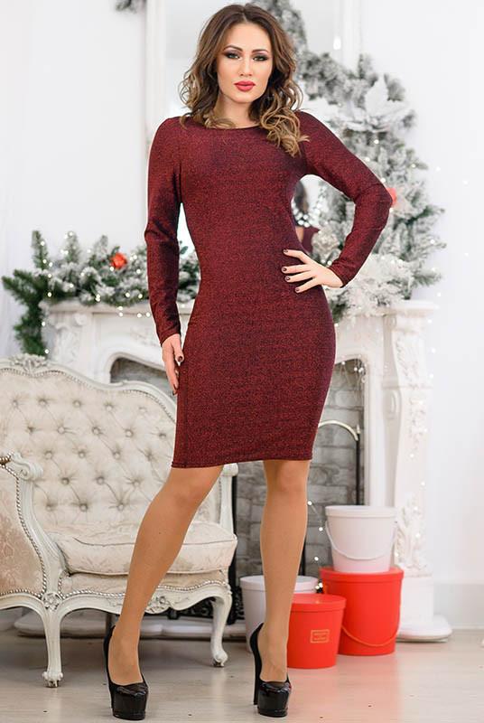 Бордове плаття з люрексом Ребекка
