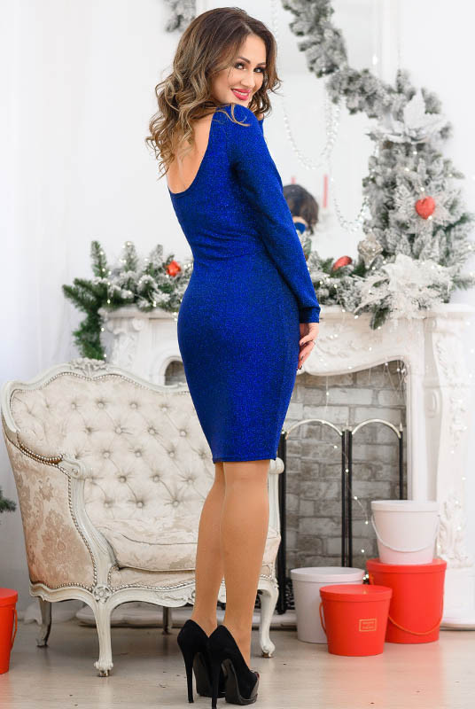 Модное платье с люрексом Ребекка, электрик