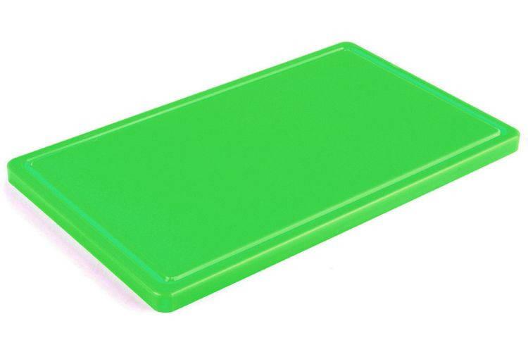 Доска разделочная зеленая 400х300х20 мм, с желобом Resto line, FoREST
