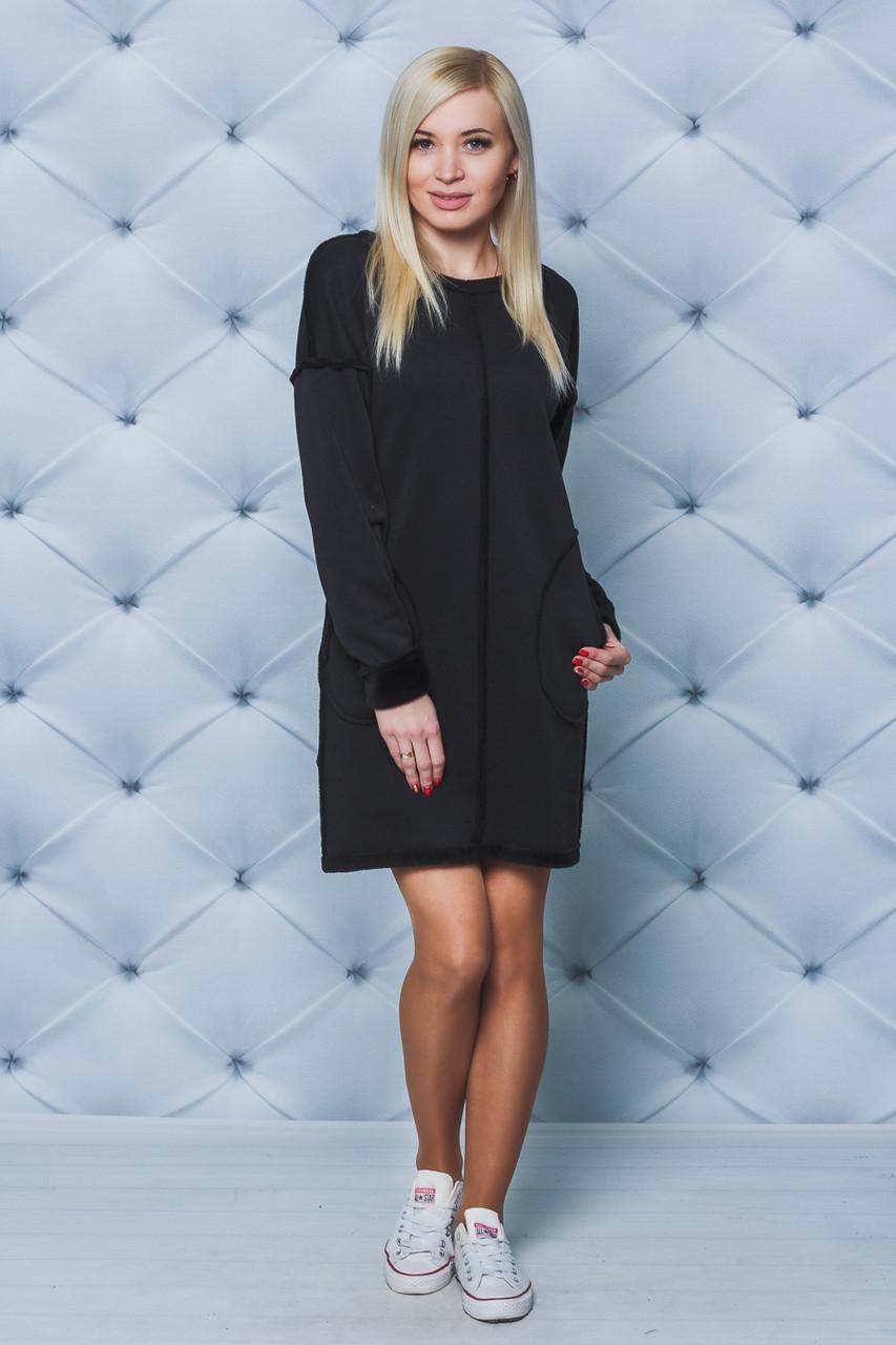 Платье женское на меху черное
