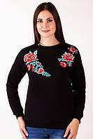 Черный женский свитшот с цветами и буковинской вышивкой, фото 1