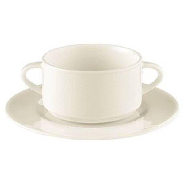 Блюдце под бульонную чашку 17 см. фарфоровое, белое Diamant, Seltmann Weiden 708705