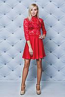 Платье короткое с кружевом красное, фото 1
