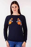 Темно синий женский свитшот с цветами и яворовской вышивкой, фото 1