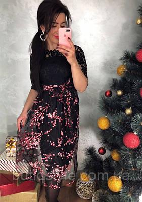 Красивое женское кружевное черное платье с органзой и узором тренд 2018