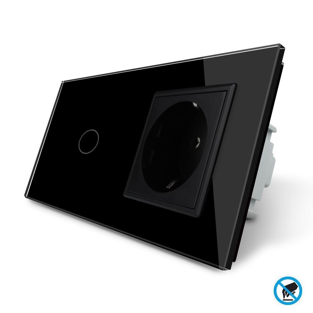 Бесконтактный выключатель с розеткой Livolo черный стекло (VL-C701/C7C1EU-PRO-12)