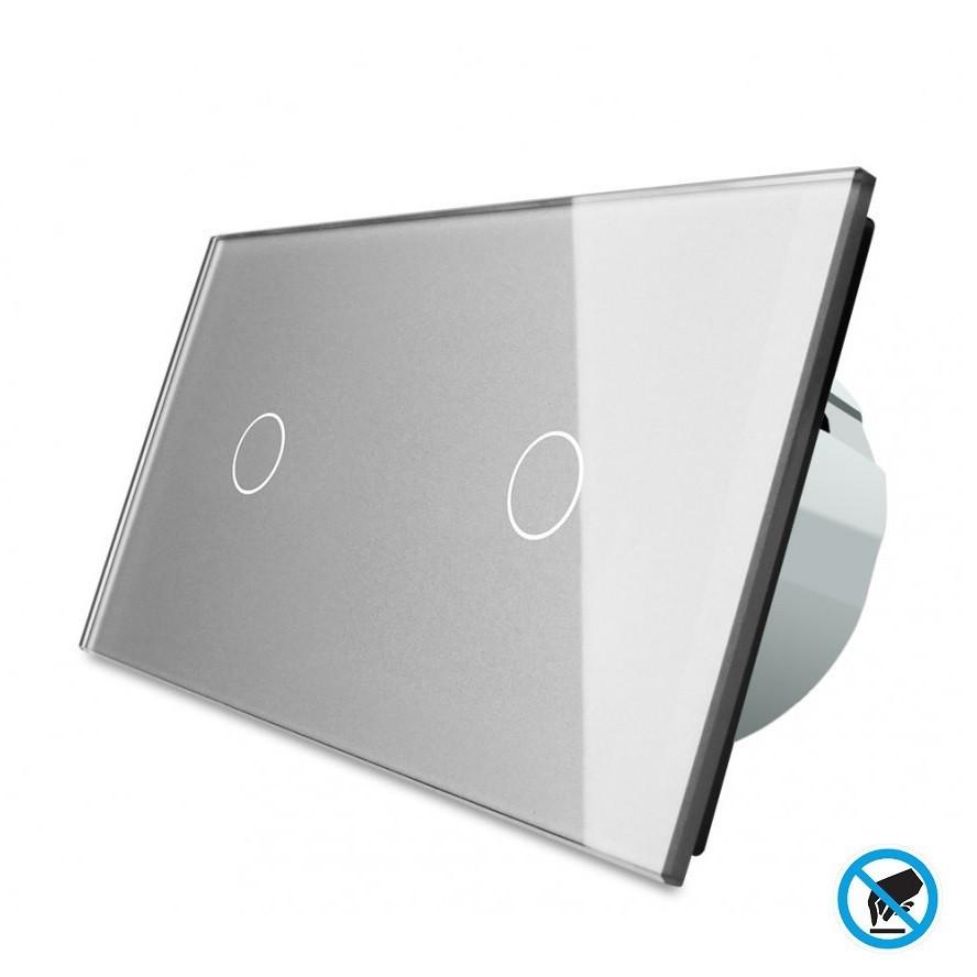 Бесконтактный выключатель Livolo 1-1, цвет серый, материал стекло (VL-C701/C701PRO-15)