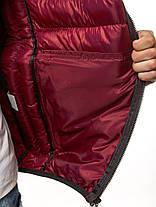 Мужская стильная зимняя куртка J.Style бордовая с литерами, фото 2