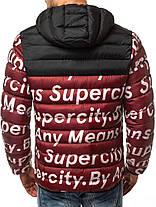 Мужская стильная зимняя куртка J.Style бордовая с литерами, фото 3