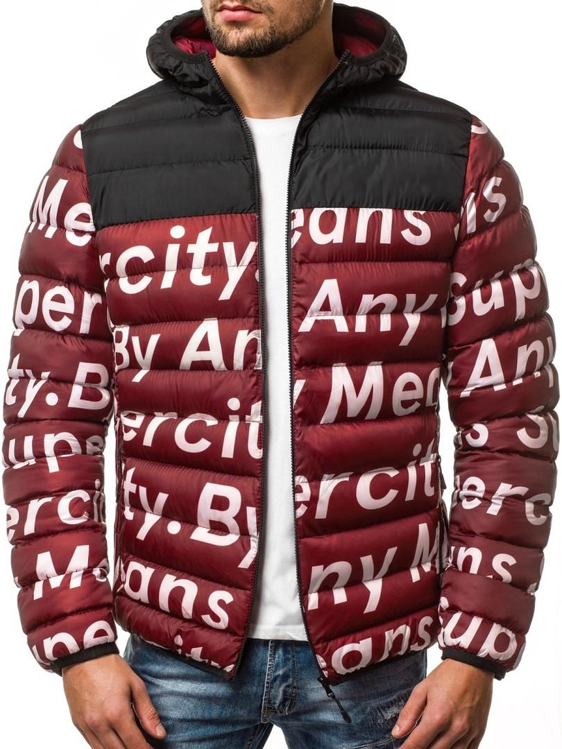 Мужская стильная зимняя куртка J.Style бордовая с литерами