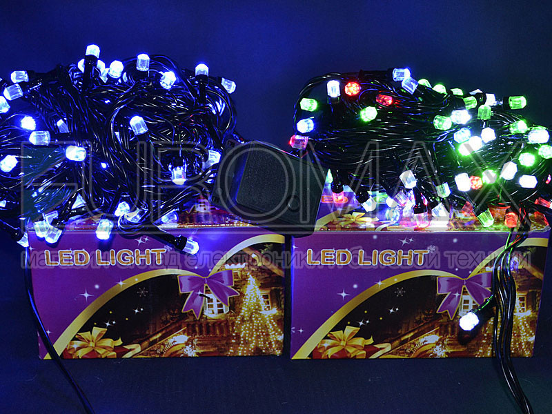 Гирлянда с черным проводом 8 и лампой Рубинка большая 200LED (белый) LED200W-8