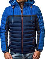 Мужская стеганая зимняя куртка J.Style синяя с капюшоном