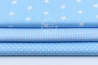 """Набор тканей 40*40 см из 3 шт """"Звёзды, горошек, клеточка"""" цвет голубой"""