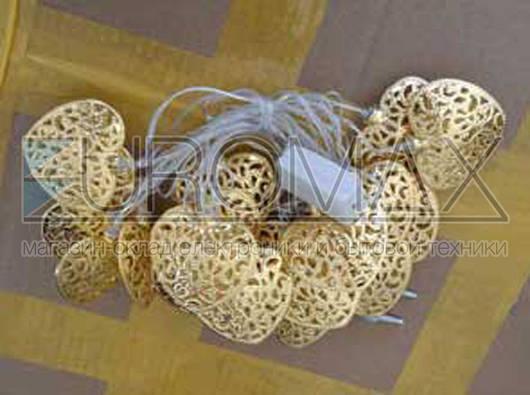 Гирлянда 20 больших сердечек (металл) прозрачный провод (микс) 20-METAL-M-1
