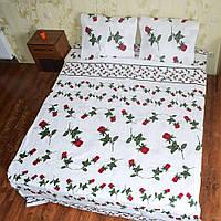 Постільна білизна півтораспальна Червона троянда на білому