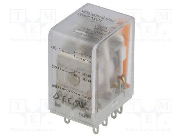 Реле DRM 270524LT WEIDMULLER 7760056073, 24V AC, 2CO, светодиод, тест, фото 2