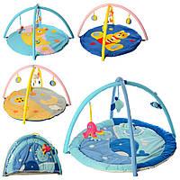 Коврик для младенца W 8315   кругл.85см, дуги 2шт,подвески-плюш 5шт,микс вид,в сумке, 81-56-6см