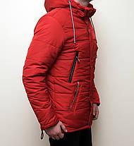 Зимняя мужская куртка красная с теплым капюшоном , фото 3