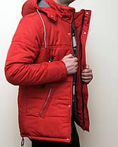 Зимняя мужская куртка красная с теплым капюшоном , фото 2