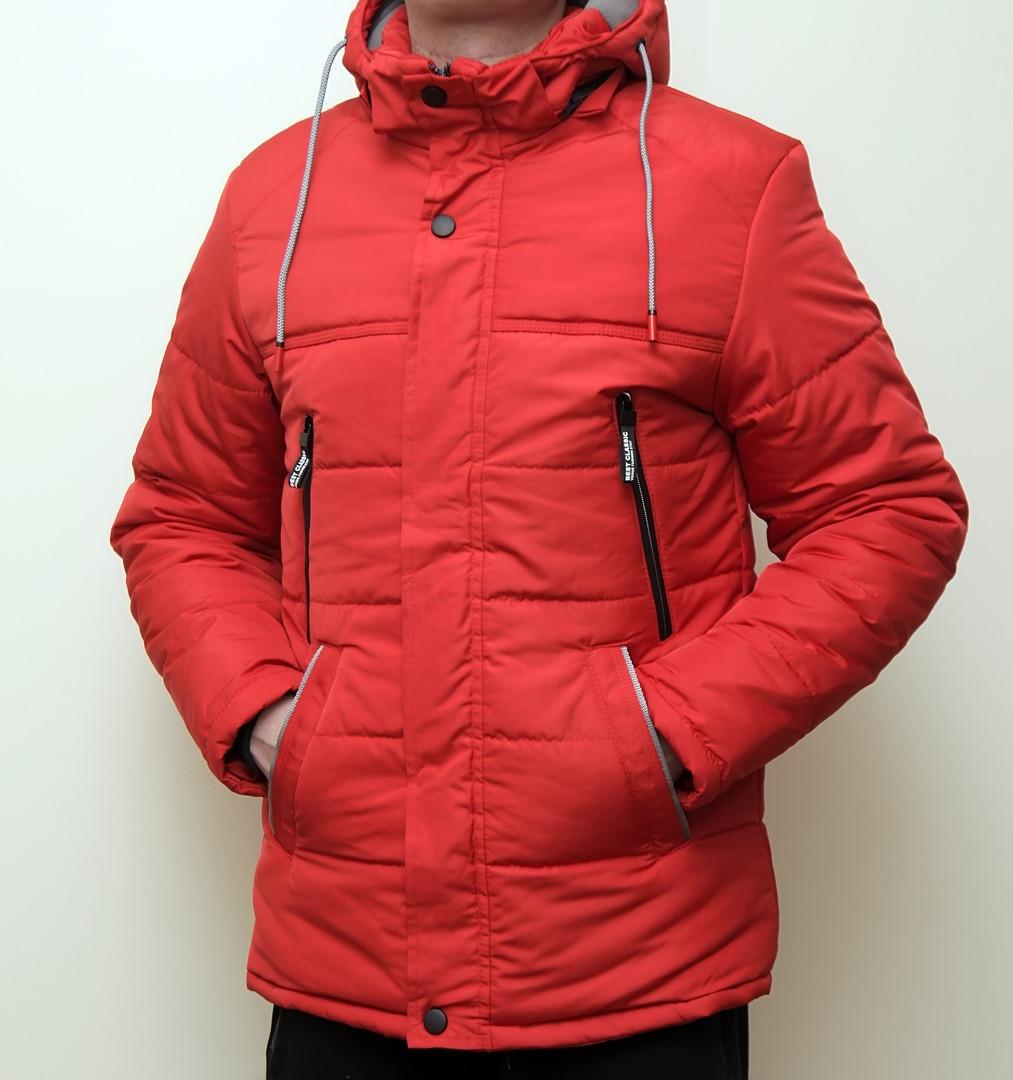 Зимняя мужская куртка красная с теплым капюшоном
