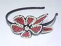 Обруч для волос, черный пластик, стразы красные и хамелион, ширина 6 мм