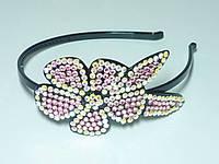 Обруч для волос, черный пластик, розовые и бежевые стразы , ширина 6 мм
