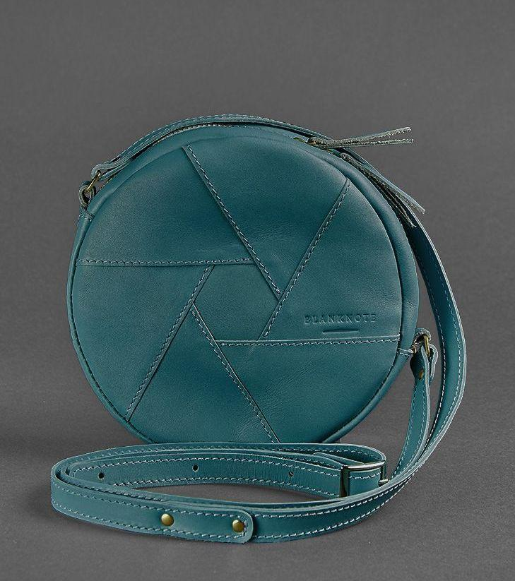 Круглая женская сумка-клатч кожаная малахит (ручная работа)