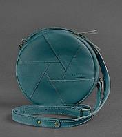 Круглая женская сумка-клатч кожаная малахит (ручная работа), фото 1