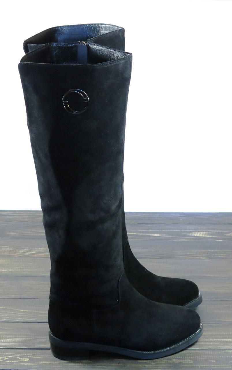 Замшевые высокие сапоги на низком каблуке Fabio Monelli