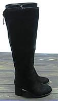 Замшевые стильные сапоги на каблуке зимние, фото 1
