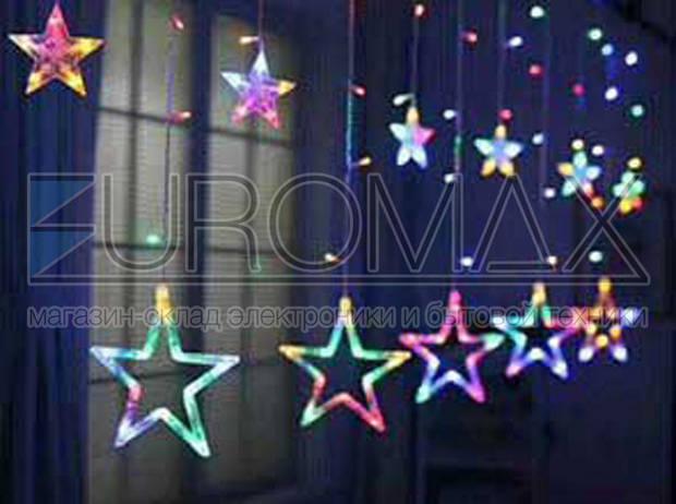 Гирлянда 10 больших звезд с прозрачным проводом (микс) STAR-12-M